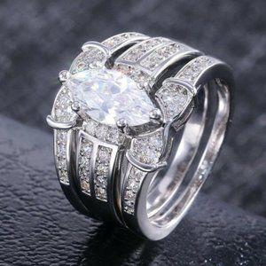 Marquise Woman Wedding Ring Set CZ Size 7